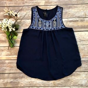 BCX Navy Blue Embroidered Tank Top - XS